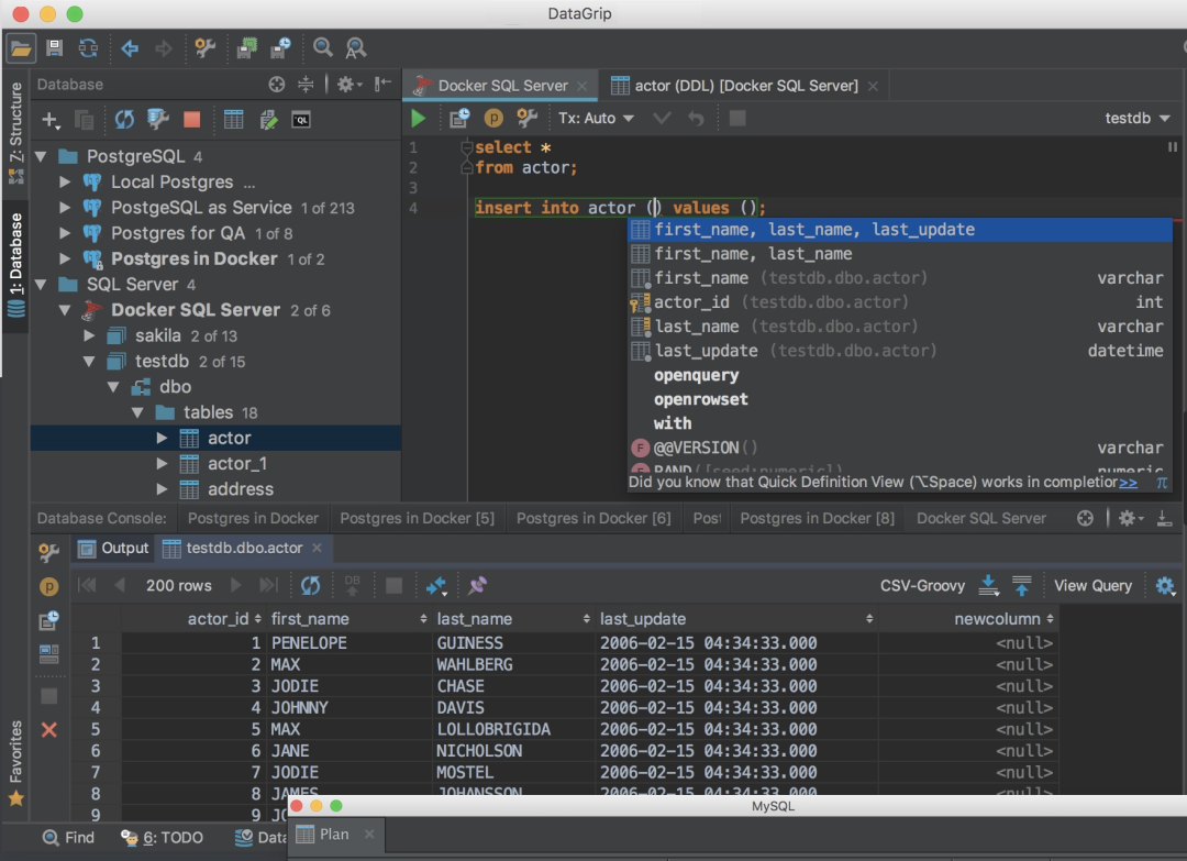 DataGrip数据库管理软件,支持主流的关系数据库!