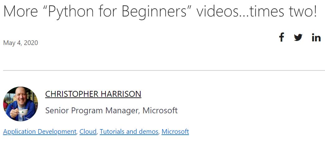 微软发布新版 Python 教程,这次更高级!
