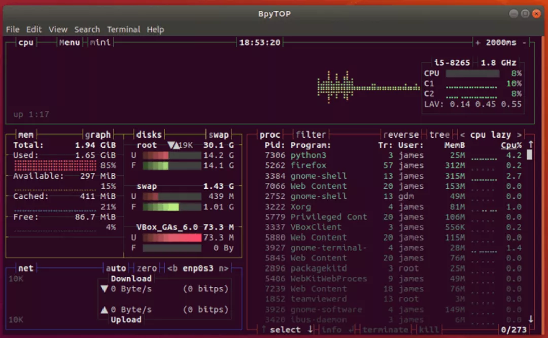 一款 Python 实现的美观终端资源监视器